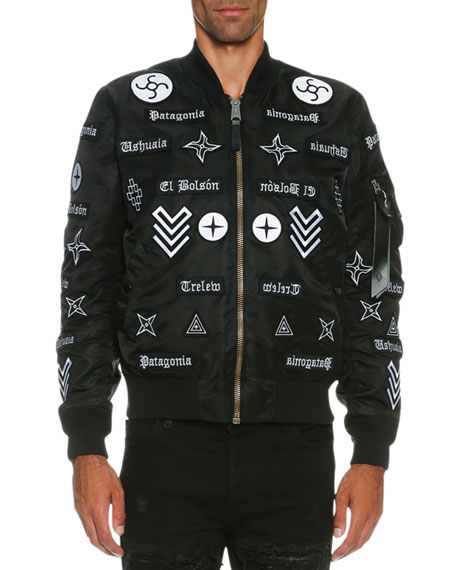 Marcelo Burlon Roldan Alpha MA-1 Mirrored-Patch Bomber Jacket,