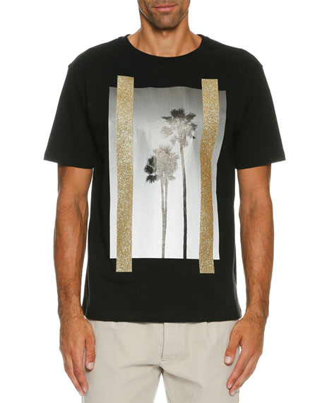 Palm Angels Metallic Palm Print Graphic T-Shirt, Black