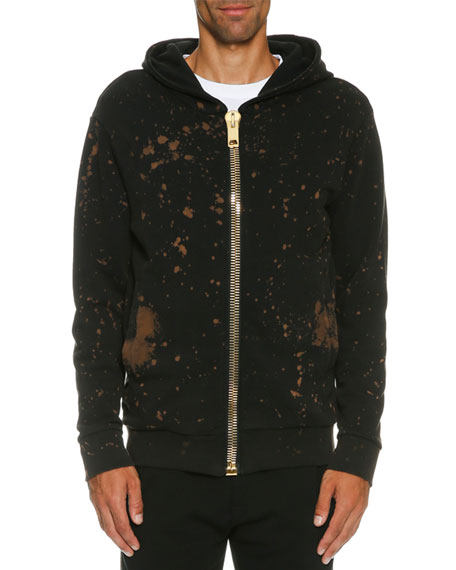 Palm Angels Bleach-Splatter Golden-Zip Hoodie, Black