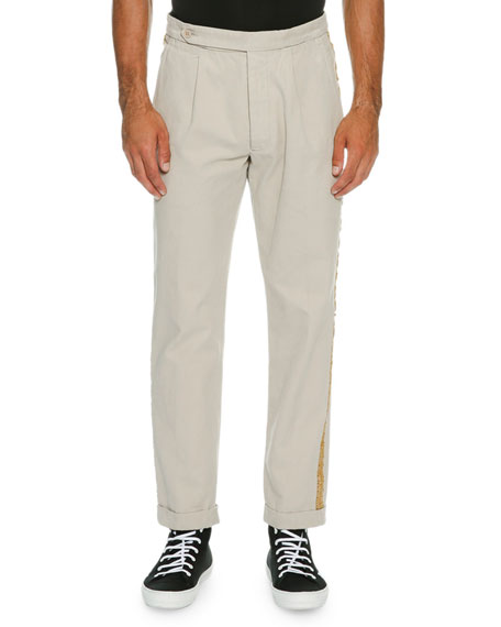 Palm Angels Classic Chino Trousers with Golden Passementerie