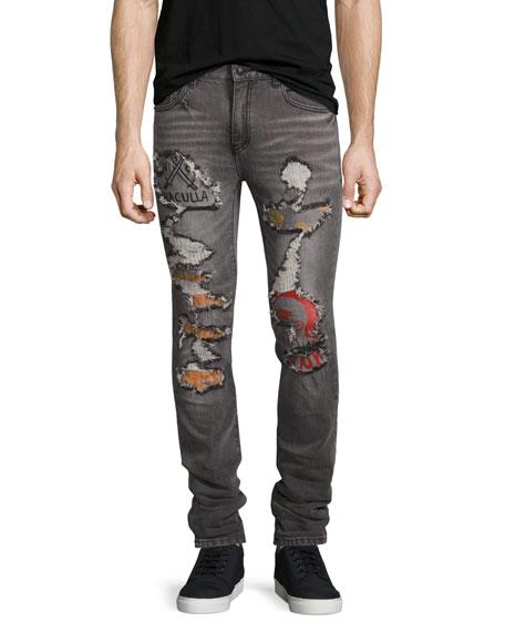 Post All Bills Distressed Skinny Jeans, Gray
