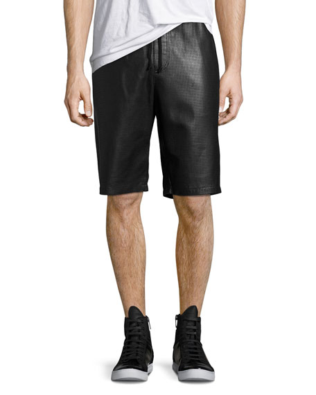 Perforated Leather Shorts, Black