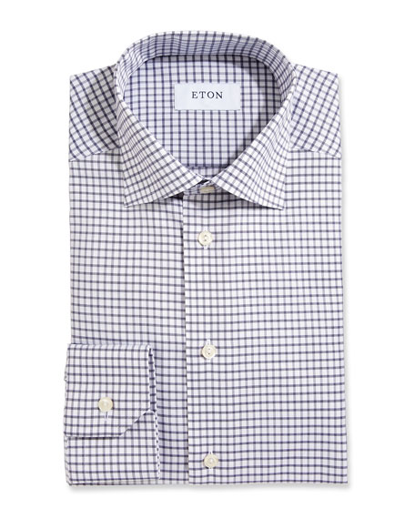 Box Check Twill Dress Shirt, White/Navy