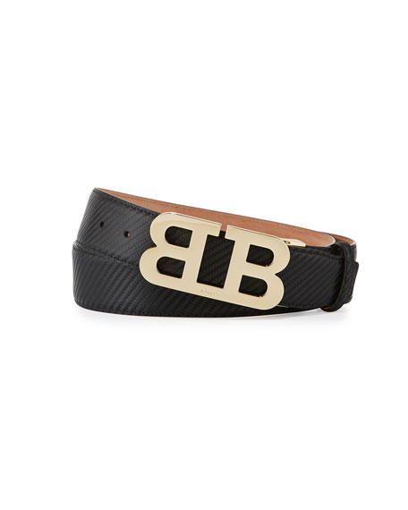 Mirror B Buckle Leather Belt, Black