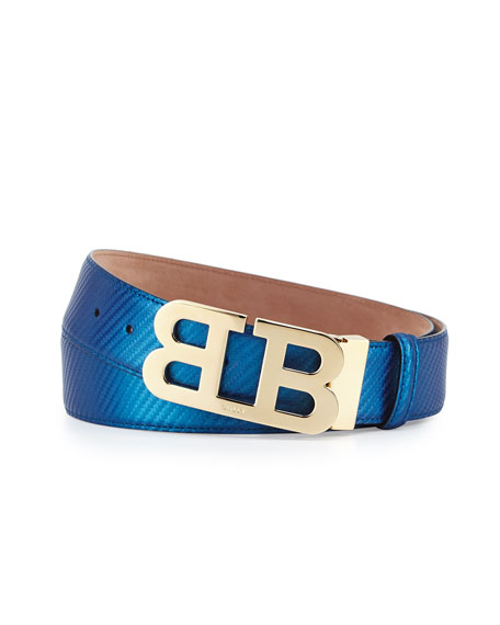 Bally Mirror B Buckle Leather Belt, Ultramarine Blue