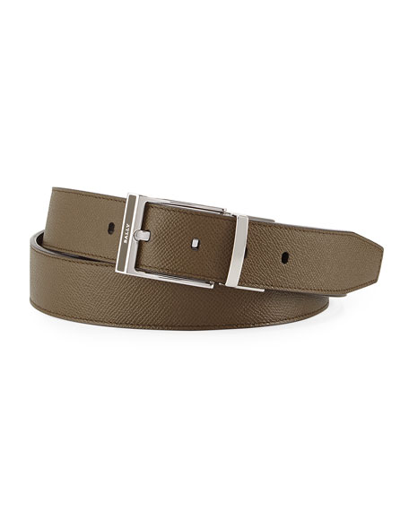 Shiff Reversible Leather Belt, Green