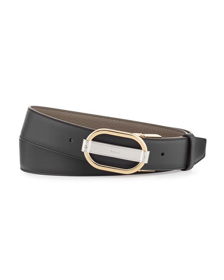 Bally Sil Reversible Leather Belt, Black and Matching