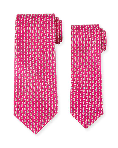 Father & Son Bunny with Balloon Silk Tie Set, Pink