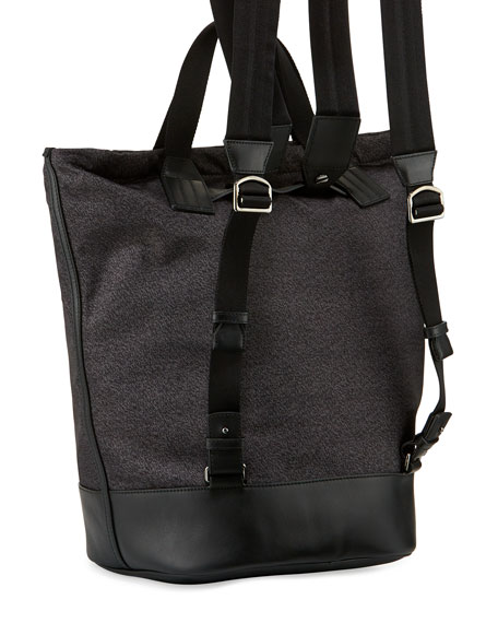 Crowley Nylon Tote-Backpack with Bally Stripe, Black