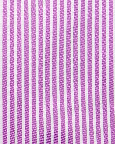 Bold-Stripe Dress Shirt, Raspberry/White