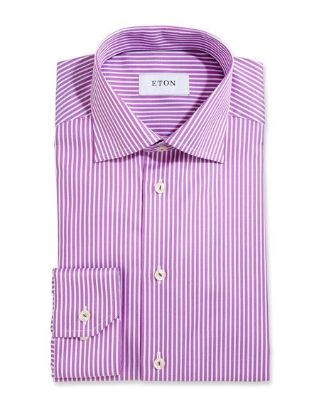 Eton Bold-Stripe Dress Shirt, Raspberry/White