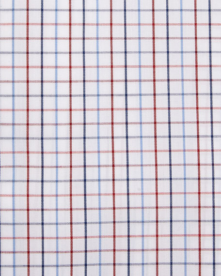 Tattersall Dress Shirt, White/Red/Navy
