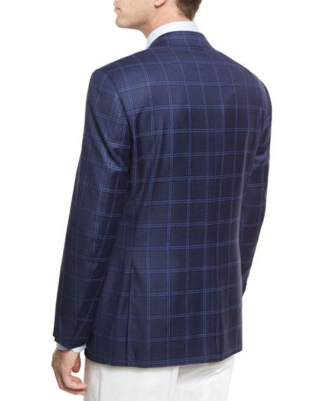 Double-Windowpane Wool Two-Button Sport Coat, Navy