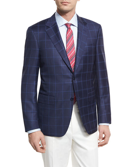 Canali Double-Windowpane Wool Two-Button Sport Coat, Navy