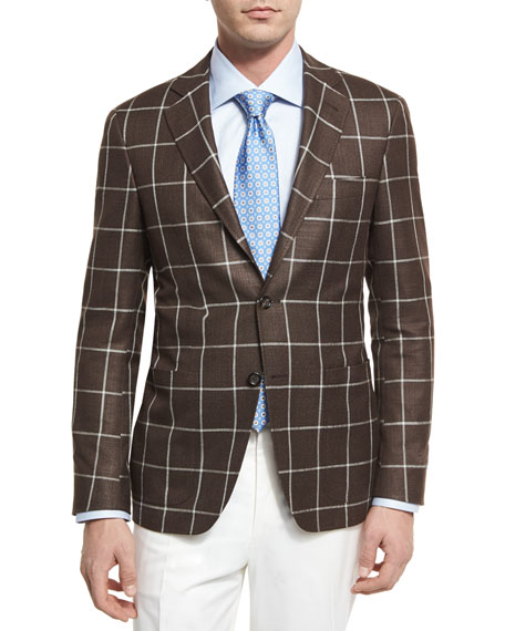 Canali Windowpane Silk-Wool Two-Button Sport Coat, Brown