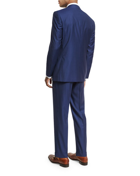 Striped Wool Two-Piece Suit, Blue