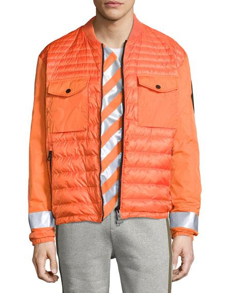 Moncler Arrow-Print Down Bomber Jacket, Orange