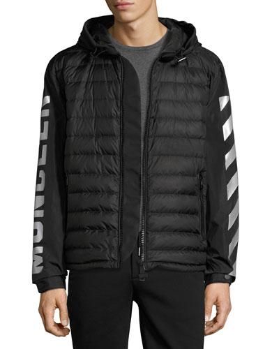 Arrow-Print Hooded Down Jacket, Black