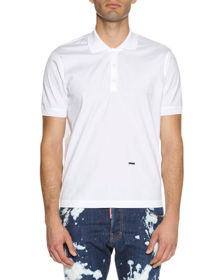 Dsquared2 Stretch-Cotton Polo Shirt, White