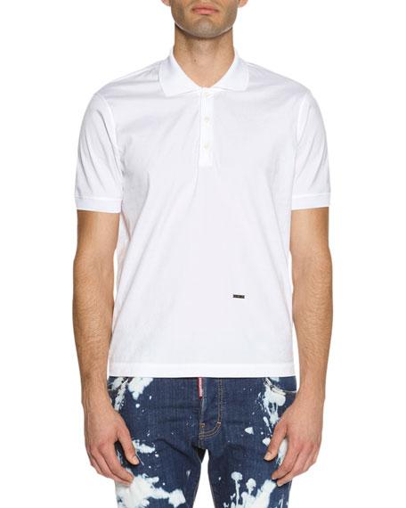 Dsquared2 Stretch-Cotton Polo Shirt, White
