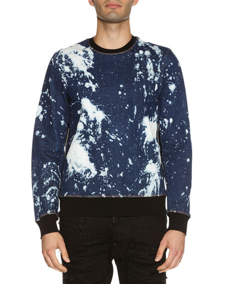 Dsquared2 Side-Zip Bleached Denim Sweatshirt