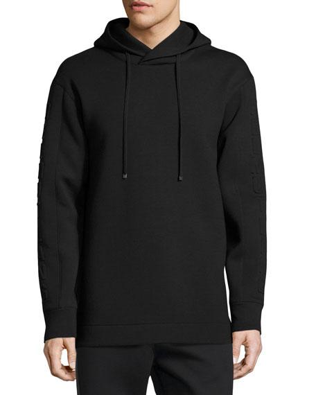 Helmut Lang 3D Logo Side-Zip Neoprene Hoodie, Black