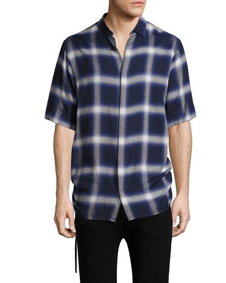 Helmut Lang Plaid Drawcord Short-Sleeve Sport Shirt, Blue