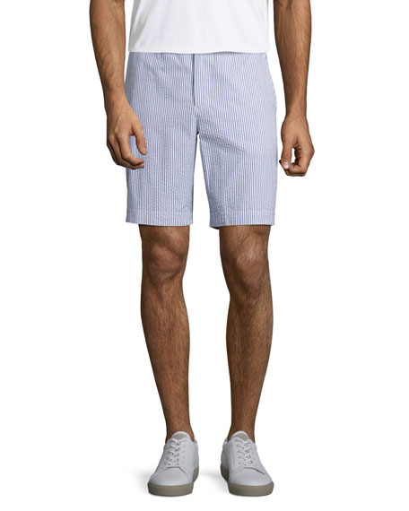 Orlebar Brown Dane 2 Striped Seersucker Shorts, Navy/White