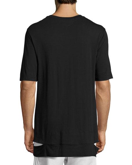 Cut-Hem Long-Line T-Shirt
