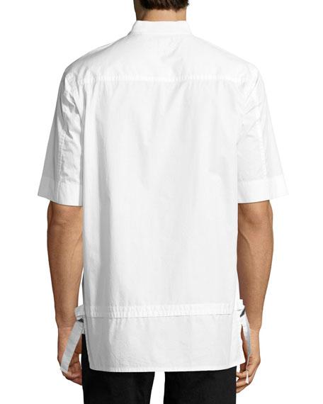 Zip-Front Baseball-Collar Short-Sleeve Shirt, White