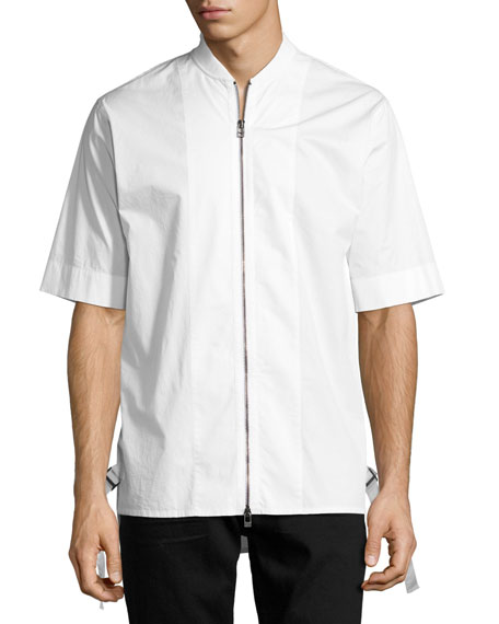 Helmut Lang Zip-Front Baseball-Collar Short-Sleeve Shirt, White