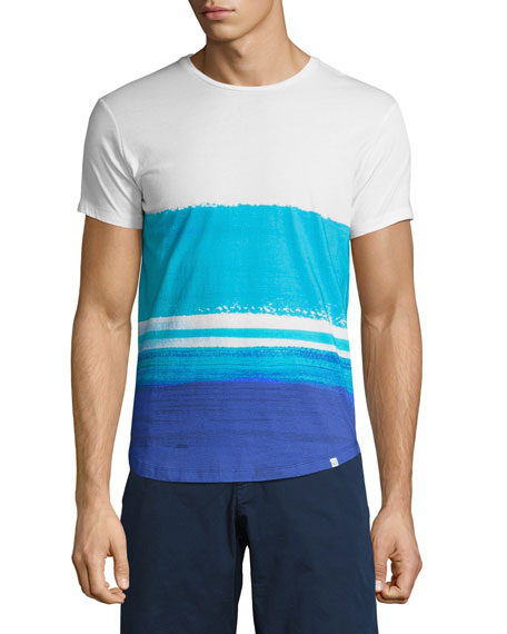 OB-T McGovern Wave-Print Tailored-Fit Crewneck T-Shirt, White/Blue