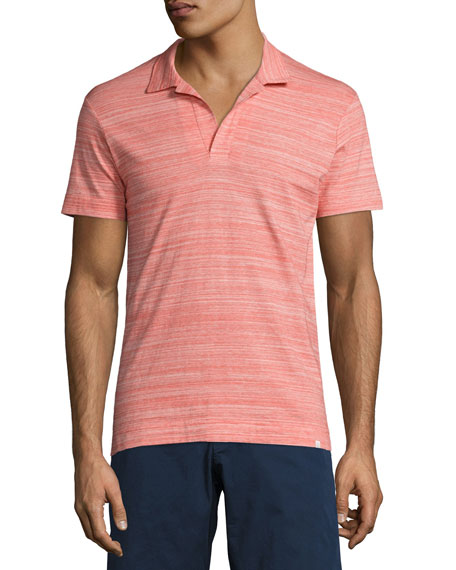 Orlebar Brown Felix Fine-Stripe Space-Dye Polo Shirt, Red