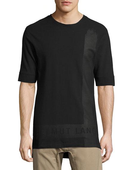 Helmut Lang Brushstroke Long-Line Logo T-Shirt, Black
