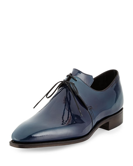 Corthay Arca Patent Leather Derby Shoe with Blue