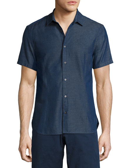 Morton Chambray Tailored Short-Sleeve Sport Shirt, Indigo