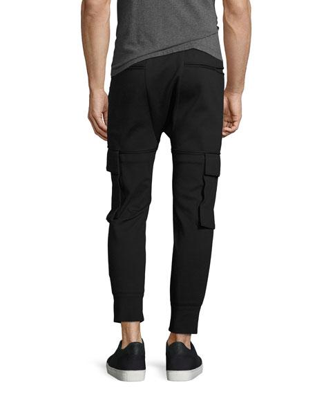 Skinny Cargo Jogger Pants, Black