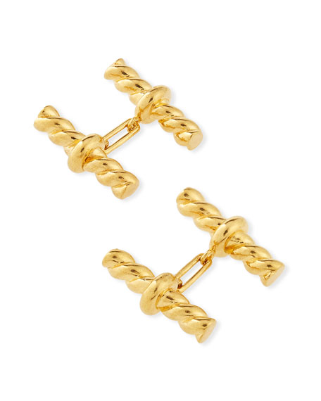 Twisted-Cable Cuff Links, Golden