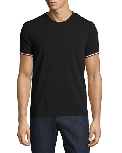 MONCLER V-Neck T-Shirt With Tricolor-Striped Sleeves