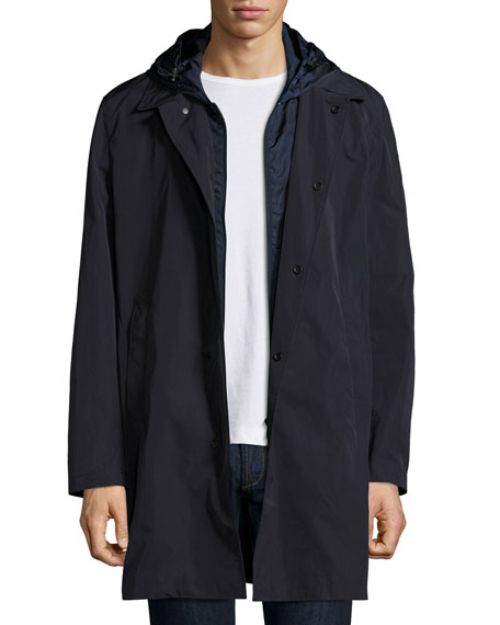 Reynaud Hooded Long-Zip Coat, Navy