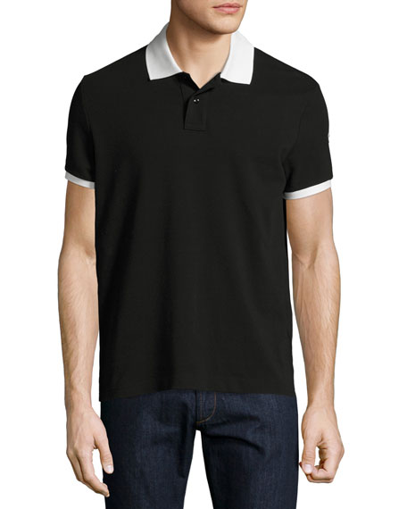 Moncler Contrast-Trim Polo Shirt, Black