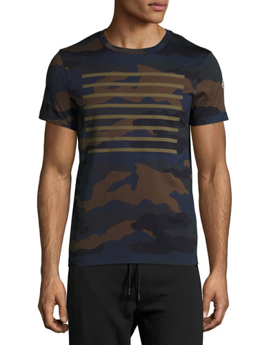 Line-Print Camouflage T-Shirt, Navy