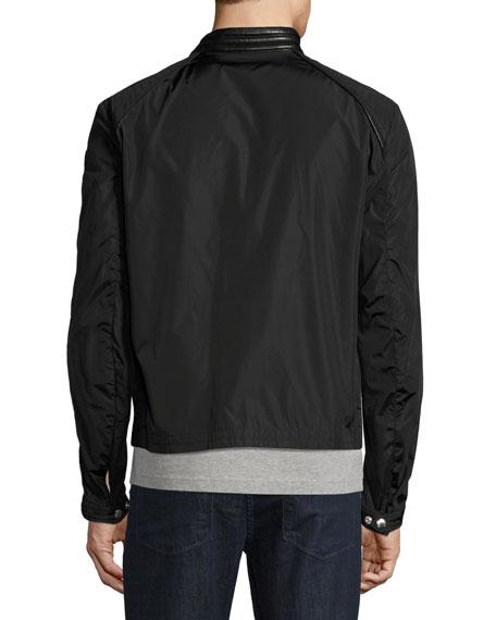 Mercure Nylon Moto Jacket with Leather Trim, Black