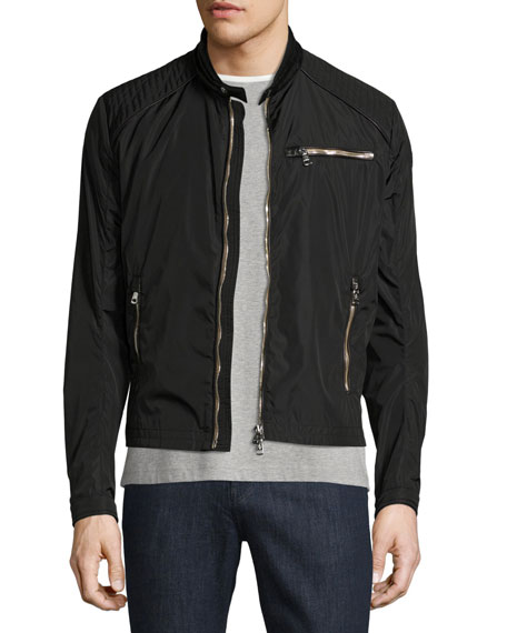 Mercure Nylon Moto Jacket with Leather Trim, Black