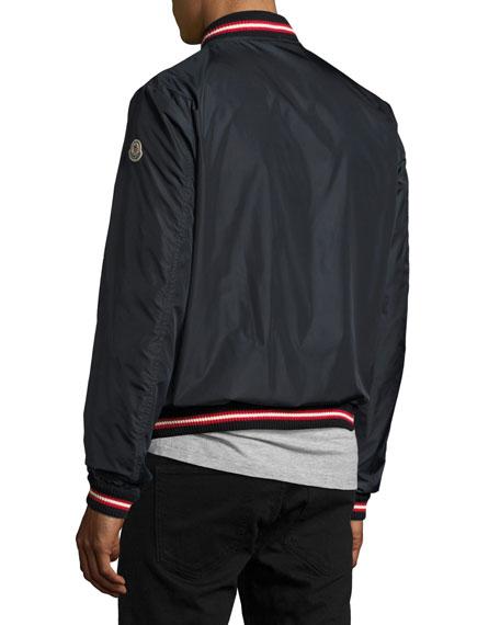 Moncler Dubost Bomber Jacket with Varsity Stripes, Dark Blue | Neiman Marcus