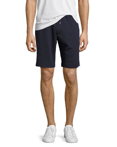 Tricolor-Trim Sweat Shorts, Navy