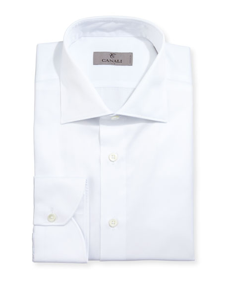 Canali Modern-Fit Twill Dress Shirt, White
