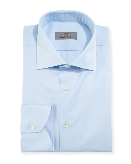 Canali Modern-Fit Twill Dress Shirt, Light Blue
