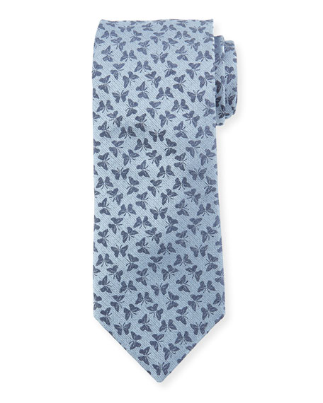 Canali Butterfly Silk Tie, Light Blue