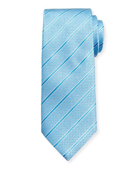 Textured Stripe Silk Tie, Blue